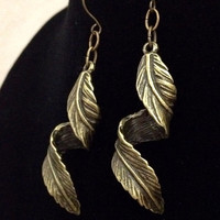Bronze twisted 3D dangle leaf earrings