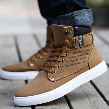 Men Breathable Leather Lace Up Canvas Sneakers