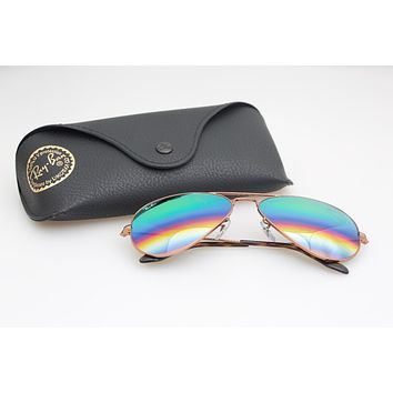 New RayBan Aviator Sunglasses Rainbow Mirror lense color Mirror58mm r3025