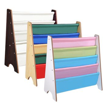 Yescom Wood Kids Book Shelf Sling Storage Rack Organizer Bookcase Display Holder