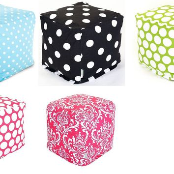 Ottoman Small Cube Foot Stool Seating Removable Cotton Cover Brocade Design