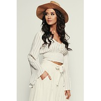 Out And About Striped Top (Ivory/Taupe)