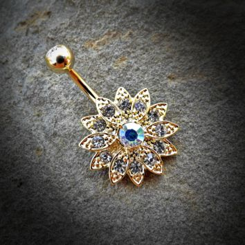 Gold Paved Gems Flower with Center CZ 316L Surgical Steel Navel Ring 14ga Belly Button Ring