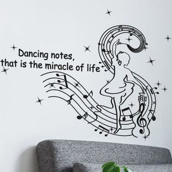 VONFC9 Dancing Musical Notes Wall Stickers Creative wall stickers home decor living room stickers muraux pegatinas de pared