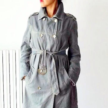 Fall trench coat for women / Vintage denim trench coat / double breasted trench coat / Military style jacket / 90s denim jacket