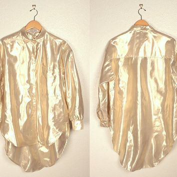 vintage metallic blouse // extra long // tuxedo fit