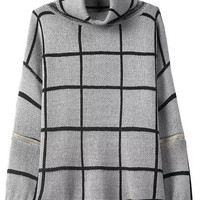 Grey Black Turtleneck Plaid Zipper Long Sleeve Knit Sweater
