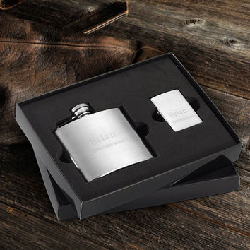 Personalized Flask  stainless steel flask - custom flask Brushed Flask and Zippo Lighter Gift Set Personalized Groomsmen Gift, Gifts for Men