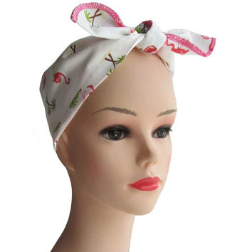Pink Flamingo Fabric Head Wrap Scarf