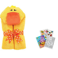 """Tubby Yellow Duck Soft Hooded Bath Towel 24x50"""" Age 0-8 with Coloring Book"""