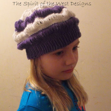 Cassidy's Drop Stitch Slouch - Knitting Pattern, Hat, Toque, dropstitch, slouchy hat, children, toddler, adult, Purple spring hat, beanie