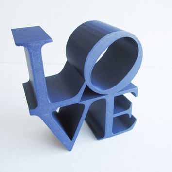 DISCOUNTED Midnight Blue 3D Printed Home Decor LOVE Block Sculpture Pop Art Iconography Kitsch Poems Iconic Image Letters 3-D Print Geekery