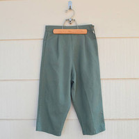 Vintage Capri Pants, Loose Fitting, Home Made, Ribbed Fabric, Sage Green Capris, 1960s