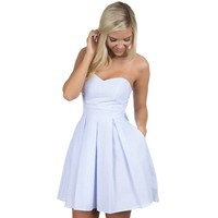 The Corbin Seersucker Dress in Blue by Lauren James