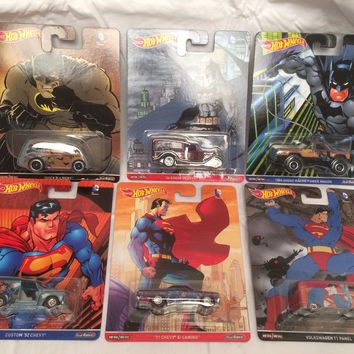 Set Of 6 Hot Wheels Pop Culture Batman Vs Superman NEW 2016