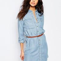 River Island | River Island Belted Denim Shirt Dress at ASOS