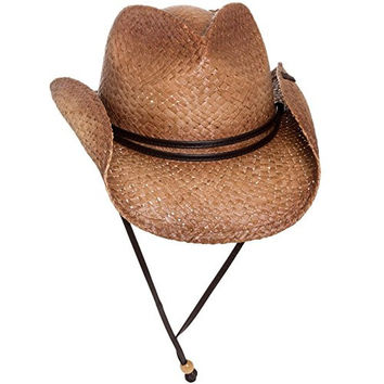 Peter Grimm Straw Round Up Cowboy Hat w/ Leather Strap (Tea Stained)