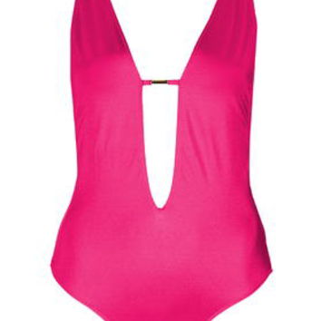 Strappy Plunge Swimsuit - Pink