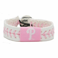 Gamewear MLB Leather Wrist Band - Philadelphia Phillies Pink