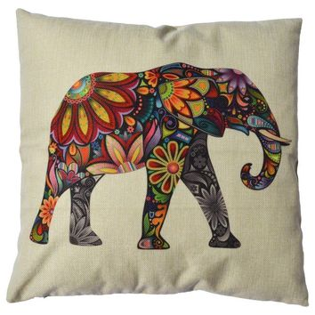 Tribal Boho Elephant Linen Throw Pillow