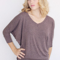 The Greatest 3/4 Sleeve VNeck Shirt Heather Burgundy