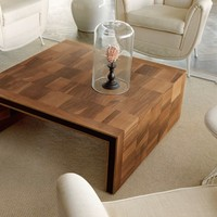 Low square wooden coffee table H-119 by Dale Italia | design Arbet Design