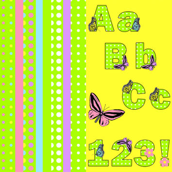 Digital Clip Art Set – Spring Easter Polka Dot and Butterfly Alphabet , A-Z , Numbers , Pastel ,  coordinating papers INSTANT DOWNLOAD