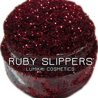 Ruby Slippers GLITTER 5 Gram Full Size Jar Vivid Bright Deep Ruby Red Goth Gothic Halloween Magic Glitter Collection Lumikki Cosmetics