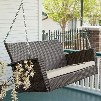 Modern Dark Brown Resin Wicker Porch Swing with Khaki Seat Cushion