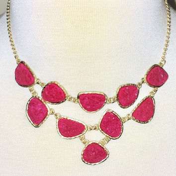 Druzy Love Statement Necklace