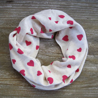 Valentine Scarf Girls Scarf Toddler Scarf Cute Kids Scarf Hot Pink Hearts Childs Infinity Scarf Heart Scarf Ready to Ship