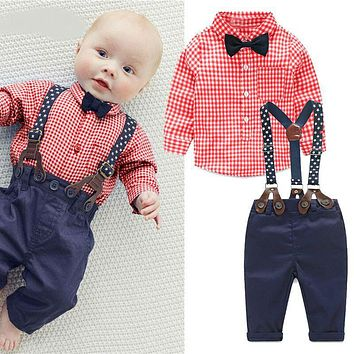 Fashion kids clothes grid shirt + suspender newborn Long sleeve baby boy clothes Bow-knot gentleman suit