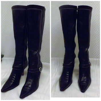 Anne Klein Shoes Knee High Pointy Toe Spike Heel Boots Size 6 . 5