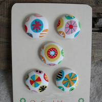 Whimsical Fun Buttons Fabric Covered Colorful Design