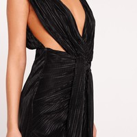 Missguided - Peace + Love Pleat Ruched Front Midi Dress Black