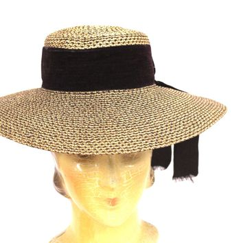 7e6bcb4e284ba Antique Edwardian Wide Brimmed Ladies Hat 2 Tone Bronze Straw 6