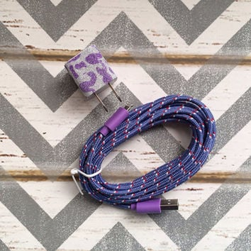 New Super Cute Purple Glitter Cheetah Print Designed USB Wall Connector + 10ft Purple Braided iPhone 5/5s Cable Cord