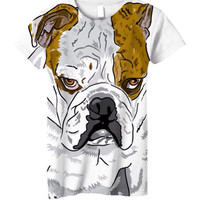 NEW! All over printed t-shirt, ladies grumpy English bulldog