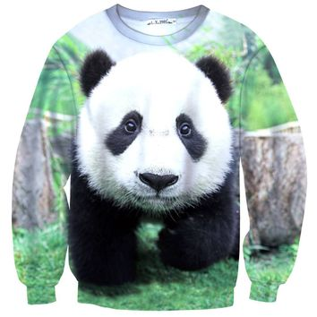 Realistic Panda Bear Face All Over Digital Print Sweatshirt Sweater
