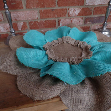 "Burlap Turquoise Flower placemat, table cover, centerpiece, Huge 24""yst"