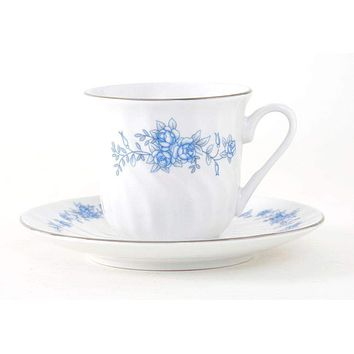 Royal Rose Set of 6 Bulk Discount Porcelain Teacups and Saucers include 6 Tea Cups and 6 Saucers $5.95 Flat Rate Shipping or order another set for FREE Shipping!