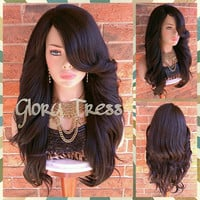 READY To SHIP // Long Glamorous Curly Lace Part Full Wig, Dark Brown Wig, Bombshell Wig, Heat Safe // GRACE (Free Shipping)