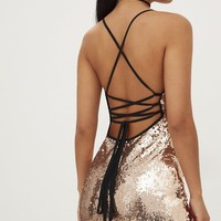 Rose Gold Sequin Lace Up Back Bodycon Dress