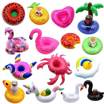 Mini inflatable Cup Holder Unicorn Flamingo Beverage Holder Pool Float PVC Swimming Pool Bathing Kids Toy Pool Beach Party