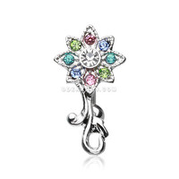 Glistening Flower Reverse Belly Button Ring (Rainbow)
