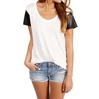 BlackWhite Faux Leather Sleeves Top