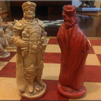 Warlords, Wizards, Dragons and Goblins Chess Set. Antique Red and Aged Sandstone.