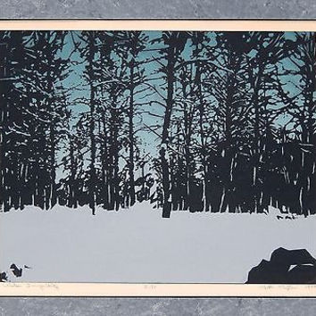 Silkscreen Print Winter Tranquility Signed Ruth Peyton Blue Black Original