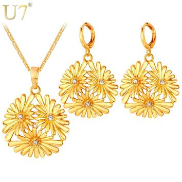 U7 Daisy Flower Jewelry Set Gold Color New Trendy Earrings Necklace Set For Women Fashion Jewelry S779