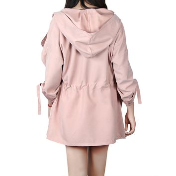 Trench Adjustable Waist Long Sleeve Hooded Trench Pocket Women Coat Cardigan Casual Femme Outwear Long Trench GV120